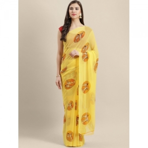 Chhabra 555 yellow Georgette printed Saree
