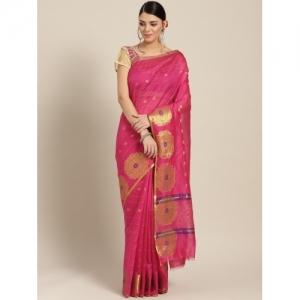 Chhabra 555 pink Cotton Silk wowen chanderi Saree