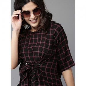 HERE&NOW  Black Checked Cinched Waist Top