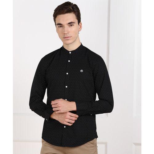 Peter England University Men Printed Casual Black Shirt