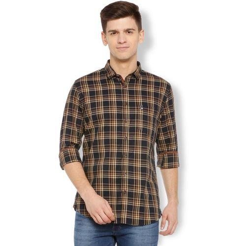 Van Heusen Men Checkered Casual Brown, Black Shirt