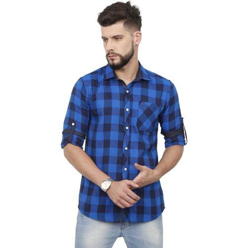 Rope Men Checkered Casual Blue, Black Shirt