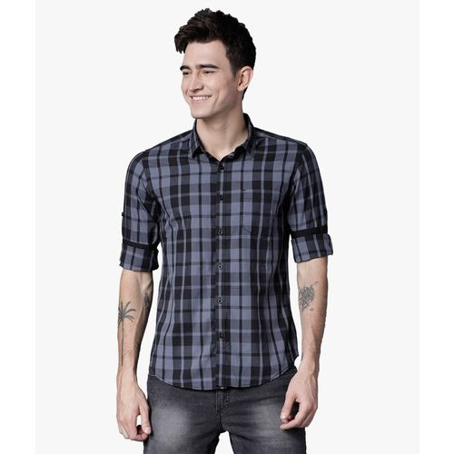 Highlander Men Checkered Casual Black, Grey Shirt