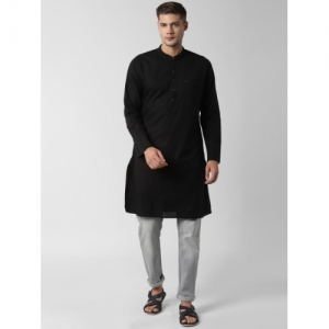 Peter England Men Solid Straight Kurta(Black)