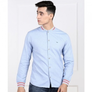 Flying Machine Men Solid Casual Blue Shirt