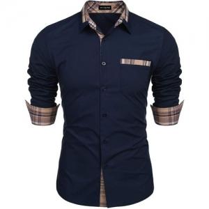 DEELMO Men Solid Casual Blue Shirt