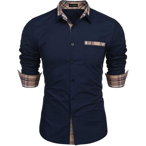 DEELMO Men Solid Casual Blue Shirt