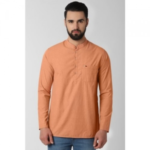 Peter England Men Solid Straight Kurta(Orange)