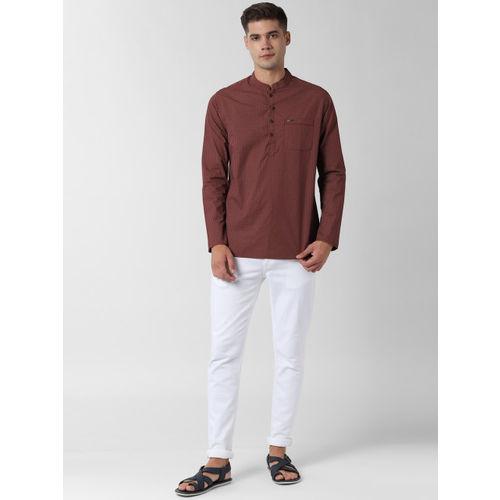 Peter England Maroon pure cotton Printed Straight Kurta