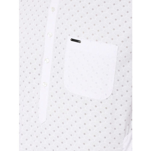 Peter England Men White & Grey Printed Straight Kurta