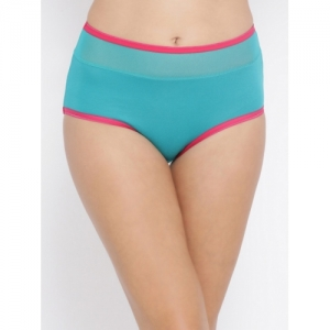 Clovia Women Turquoise Blue & Pink Solid High-Rise Hipster Brief PN3223T17S