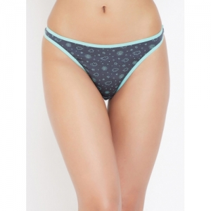 Clovia Women Grey Printed Thongs Briefs PN3358P05S