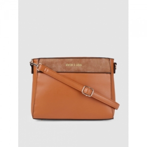 E2O Camel Brown Polyurethane Solid Sling Bag