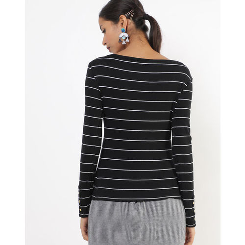 TALLY WEiJL Striped Boat-Neck Ribbed T-shirt
