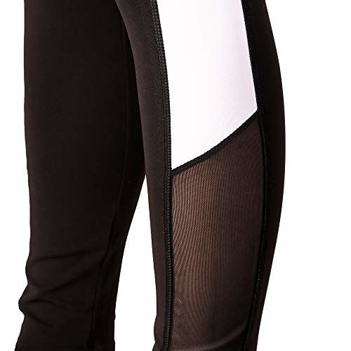 Fitinc Lycra Black Stylish Leggings for Girls/Women with Both Side White Stripe & Black Net Design - Stretchable, Comfortable & Absorbent Gym tights for Workout