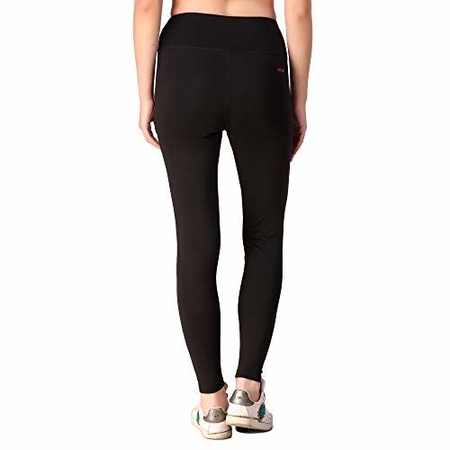 Fitinc Black Premium Leggings/Activewear/Jeggings for Girls/Women - Stretchable, Comfortable & Absorbent Gym tights for Workout and Casual Wear