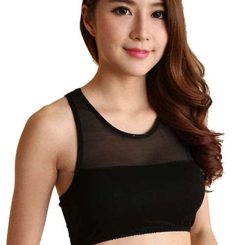 Riya Soft Net Neck Sleevless Lace Blouse Bra cum Tank Top Women Tube Lightly Padded Bra(Black)