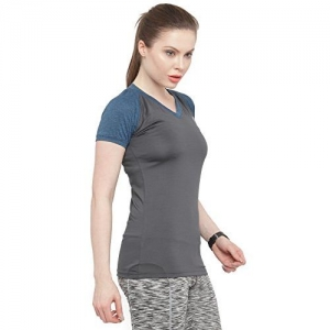 N-Gal Women's V Neck Short Sleeve Slim Fit Active Wear Yoga Wear Training Gym T-Shirt-NFT07