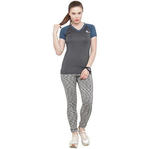 N-Gal Women's V Neck Short Sleeve Slim Fit Active Wear Yoga Wear Training Gym T-Shirt-NFT07