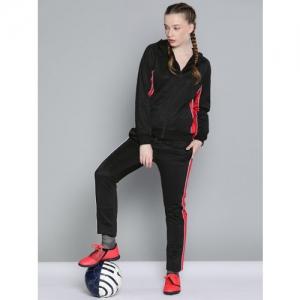 HRX by Hrithik Roshan Women Black Solid Football Tracksuits