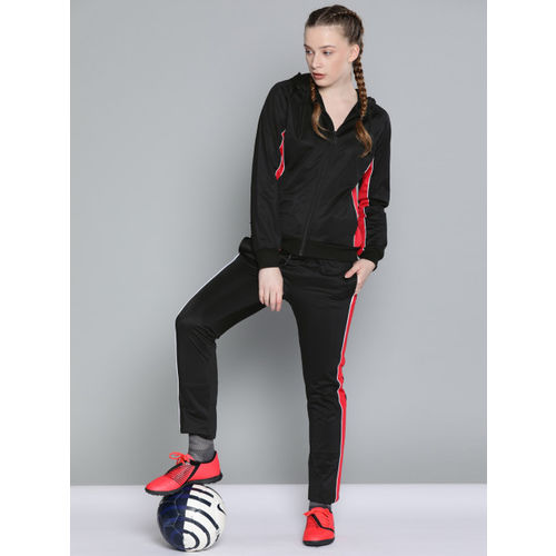 HRX by Hrithik Roshan Women Black Solid Football Tracksuits