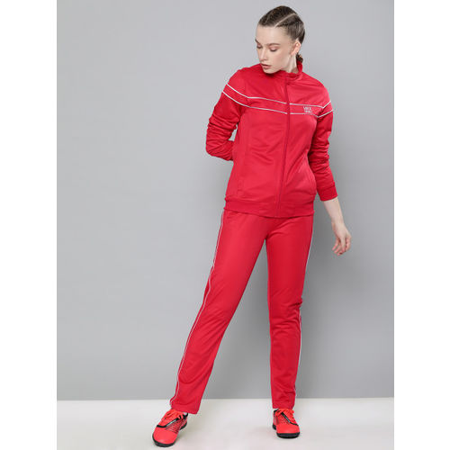 HRX by Hrithik Roshan Sweet Dreams Women Red Solid Football Tracksuits