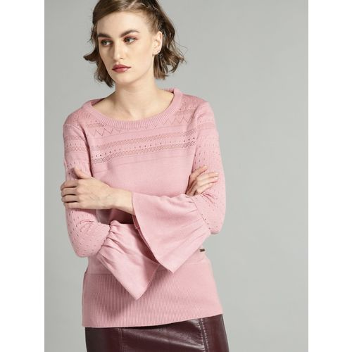 Roadster Solid Round Neck Casual Women Pink Sweater