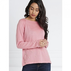 All About You Solid Round Neck Casual Women Pink Sweater