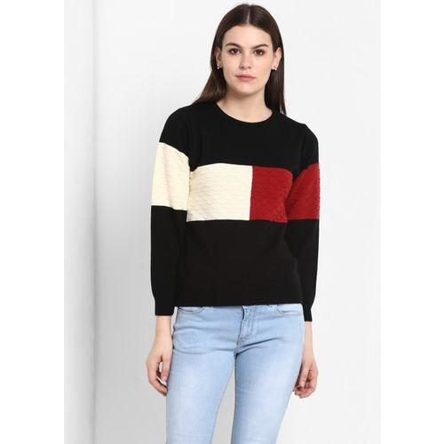 Modeve Self Design, Printed, Floral Print, Polka Print Round Neck Casual Women Black Sweater