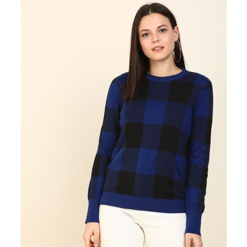 Levi's Checkered Round Neck Casual Women Reversible Black, Blue Sweater