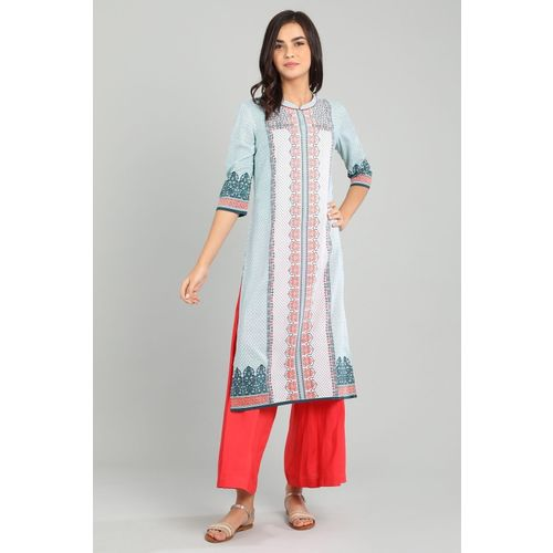Aurelia Women Printed Straight Kurta(Red, White, Green)