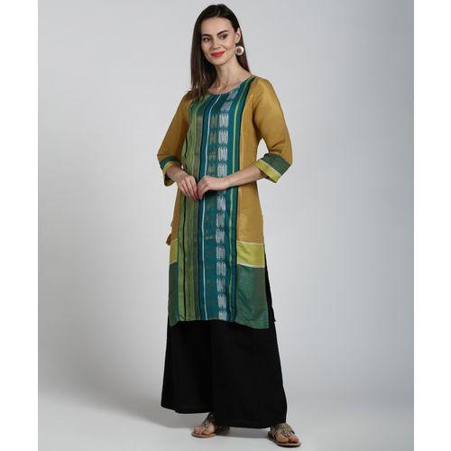 Aurelia Women Self Design Straight Kurta(Yellow, Green)