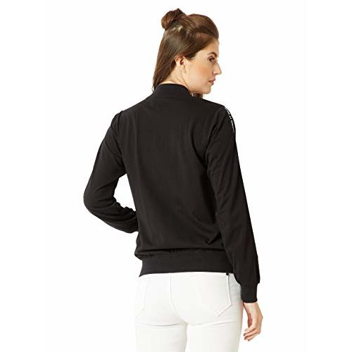 Miss Chase Women's Black Cotton Twill Tape Bomber Jacket
