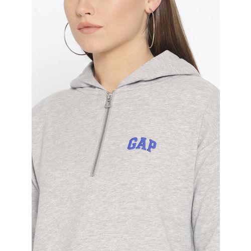 GAP Women Grey Melange Solid Hooded Sweatshirt