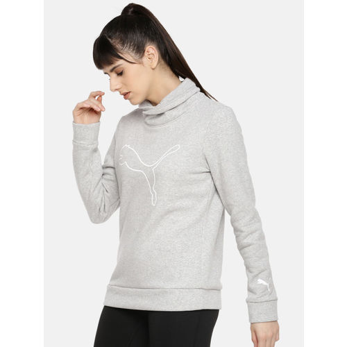 Puma Women Grey Melange Printed High Neck Sweatshirt