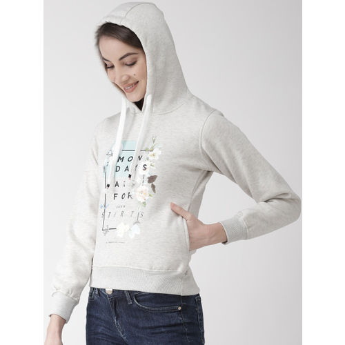 Okane Women Off White & Black Printed Hooded Sweatshirt