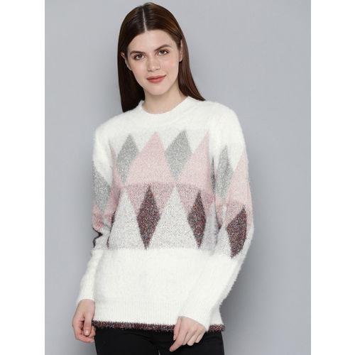 Chemistry Edition Women White & Silver-Toned Self Design Sweater