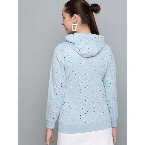 HERE&NOW Women Blue & Pink Printed Hooded Sweatshirt