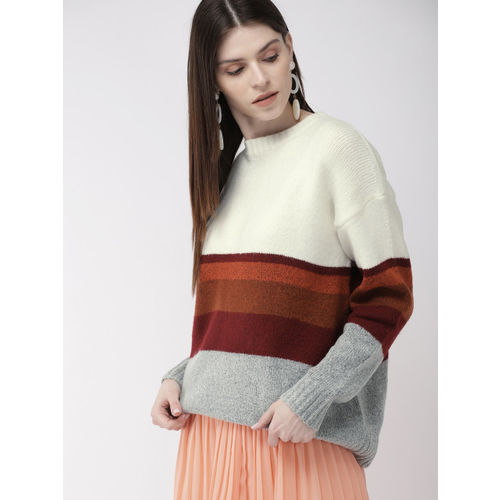 FOREVER 21 Women Cream-Coloured & Maroon Striped Pullover Sweater