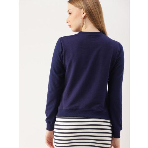 DressBerry Women Navy Blue Printed Sweatshirt