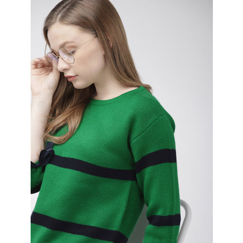 Harvard Women Green Striped Sweater