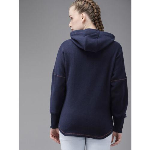 Roadster Women Navy Blue Solid Hooded Sweatshirt