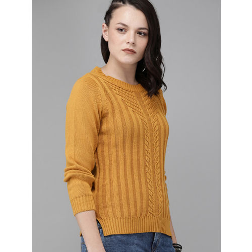 Roadster Women Mustard Yellow Self Design Pullover Sweater