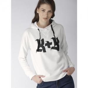 FOREVER 21 Women White Printed Hooded Sweatshirt