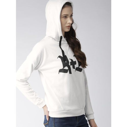 FOREVER 21 Women White Printed Hooded Sweatshirt