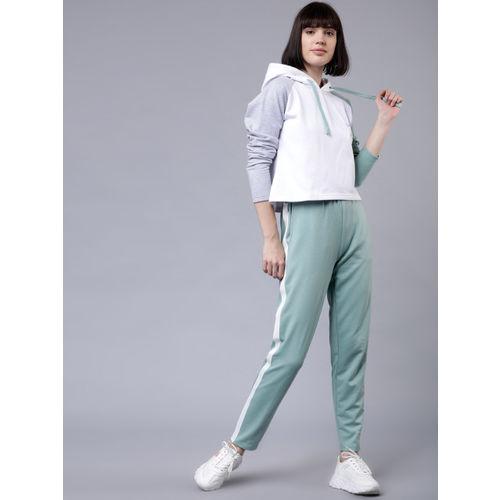 Tokyo Talkies Women Green & White Colourblocked Hooded Sweatshirt