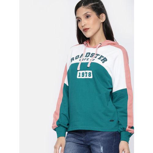 Roadster Women Green & White Colourblocked Hooded Sweatshirt