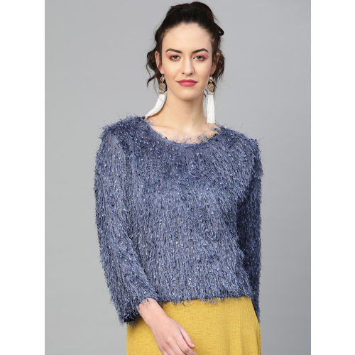 SASSAFRAS Women Blue Self Design Sweater