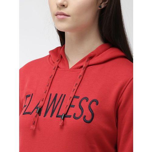 Okane Women Red Solid Hooded Sweatshirt