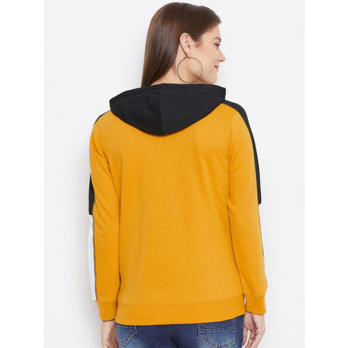 Austin wood Women Mustard Yellow Printed Rapid Dry Hooded Sweatshirt